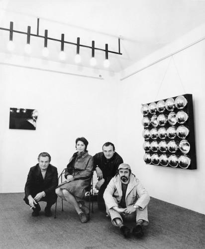 Zleva Karel Malich, Hana Malichová, Zdeněk Sýkora, Hugo Demartini / Louny / 1971 / foto archiv autora