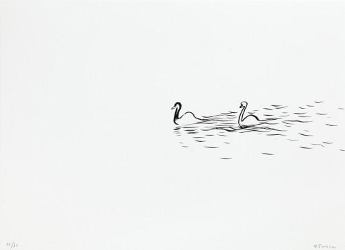 Wu Yi, Zima na Vltavě, 2014, serigrafie, papír,30 × 41 cm
