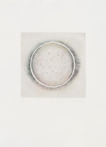 Václav Boštík, Bez názvu, 1993, suchá jehla ručně kolorovaná pastelem, papír,53 × 38 cm