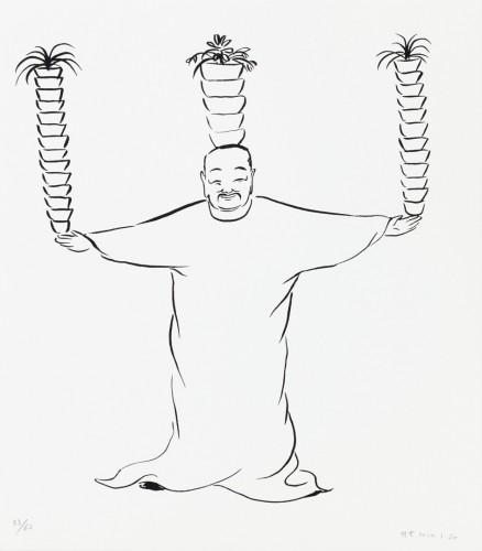 Wu Yi, Užívání radosti (Portrét Zdeňka Sklenáře), 2014, serigrafie, papír,35 × 31 cm