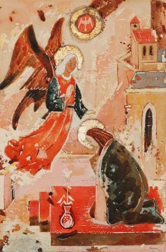 Ľudovít Fulla,The Annunciation, 1939, watercolour on cardboard, 43.5 × 32.5 cm