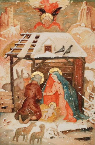 Ľudovít Fulla, Christ's Birth in Bethlehem, 1940, watercolour on cardboard, 44.5 × 32.5 cm