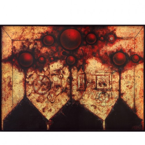 Mikuláš Medek, Tři události, 1967, olej, email, plátno, 130 x 180 cm